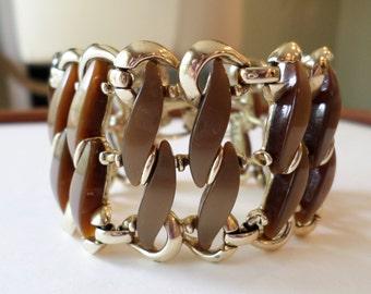 Vintage Claudette Signed, Chocolate Brown Thermoset Gold Tone Link Wide Bracelet.