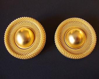 Vintage Gold Tone, Ann Taylor Signed, Rigid Mesh Modernist Design Huge Clip Earrings.