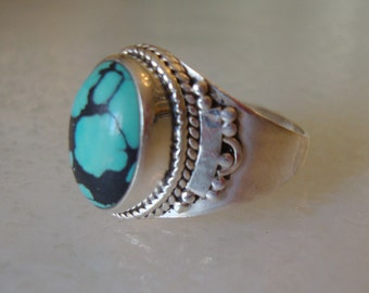 Sterling Silver 925 Stamped and Open Back Turquoise Stone Navajo Ring, Size 9.