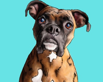Custom Digital Pet Portrait, Personalized dog portrait, Animal portrait, Cartoon pet portrait, Pet memorial, Pop art pet portrait, Boxer dog