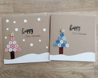 Beautiful handmade baby's first Christmas card in either blue or pink (other colours available on request) -  can be personalised