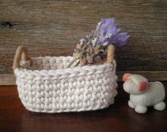 Little Oval Crochet Basket with Handles, Cottage Decor, Natural Decor, Miniature Basket, Cotton & Jute, Storage Basket, Gift for Her