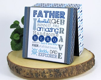 Father's Day - Trinket Box - Father Subway Art - Gift for Dad - Keepsake Box - Father Hero - Father Ties -Blue & Gray  -Dad Wordart -For Him