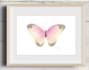 Pink Butterfly Watercolor Painting Print Art Pastel Nature Wall PRINTABLE INSTANT DOWNLOAD Home Decor Nursery Art Office Dorm