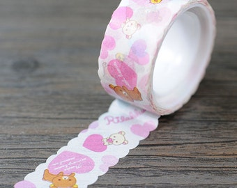 Rilakkuma Hearts and Love Washi Tape / Cute Rilakkuma Washi Tape / Cute Washi Tape / Kawaii Washi Tape / Cute Masking Tape / Kawaii Tape