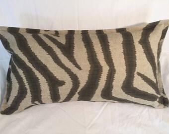 Natural Tan Grey Brown Zebra Animal Print Decorative Pillow Cover Throw Pillow Rectangle