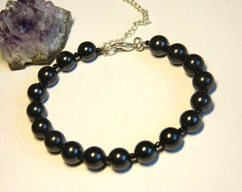 Shungite Bracelet, Shungite Beaded Bracelet, EMF protection Magic aura stone from Karelia