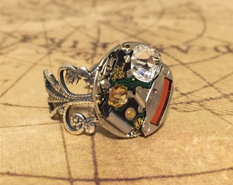 Techie Silver Swarovski Elements Watch Ring, Steampunk Ring, Adjustable Ring, Swarovski Elements Ring, Watch Ring, Nerd Watch Ring