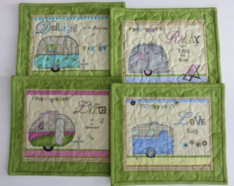 Quilted Camper Mug Rugs, Quilted Small Placemats, Quilted Snack Mats, Green Mugrug, Quilted Large Coaster, Teacher's Gift, Quiltsy Handmade