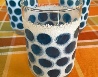 Three tumblers with 70s blue polka dot pattern