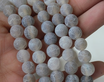 8mm Gray Agate, Frosted Cracked Agate, Matte Beads, Gemstone Beads, Round Beads, Jewelry Supply, Beading Strands, Mala Bead Supply