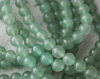 6mm Green Aventurine, round gemstone beads, full strand, 6mm Round, Earthy Beads, Boho Beads,