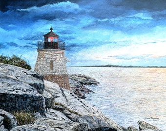 Lighthouse Art - Landscape Painting - Sea Print - Ocean Painting - Storm Painting - Nature Art - Matted Print