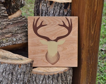Baby's Room Art, Nursery Decor Painting. Nature Lover, Forest, Woodland Theme. Solid Wood, Hand Painted 1-sided sign Deer Bust