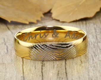 Your Actual Finger Print Rings, Personalize PROMISE RING , Men Ring, Gold Dome Titanium Rings 6mm