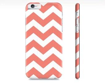 Chevron iPhone Case - Coral and White Chevron Phone Case - Chevron iPhone 6 Case - Chevron iPhone Case - The Mad Case