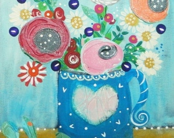 Dwell original painting on a canvas panel, whimsical art,romantic,folk art,Christmas bird art