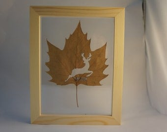 Leaf Carving Art with wood and plexiglass frame, Best Birthday Gift and wedding gift for your love once