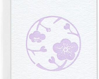 Lavender cherry blossom letterpress greeting card