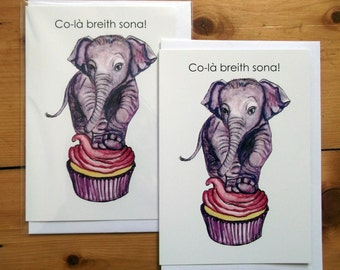 Co-là breith sona (Scottish Gaelic) Happy Birthday Elephant  A6 greeting card