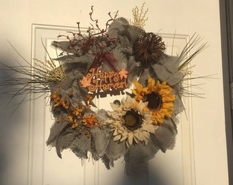 Gray Burlap Wreath with Fall accents.