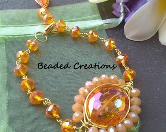 Orange Herringbone Wire Wrapped Bracelet