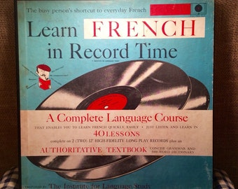 Antique 1950's Learn French In Record Time Record Set and Book, lauguage course, vintage