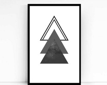 Geometric Print, Wall Art, Pink, Black, Triangles, Modern, Minimalist Poster, High Quality, Minaminist Art, Grey, Gift, Abstract Art