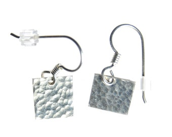 Square earrings, silver earrings, textured earrings, hand hammered, hand crafted, hand made, hand forged, drop earrings, dangle EAR28