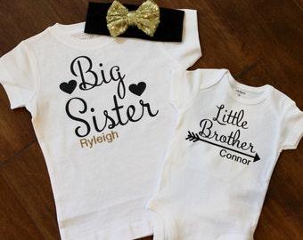 Big Sister shirt, little Brother shirt, Big Sister Little brother shirt set. Big Brother, Little Sister, Sibling Shirt, Big Sister Shirt