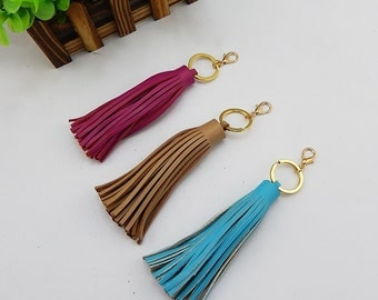 Light Blue/Brown/Pink/Peach Leather Tassels Pendant For Bags, Bags Pendant,Bags Accessories For Wholesale, DIY