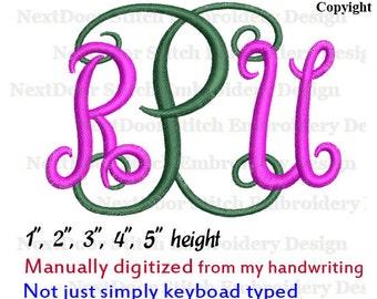 3 letter font embroidery monogram, font-026d