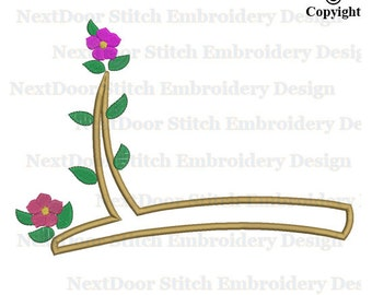 Floral branch embroidery design, flowers leaves branch download, tr-104