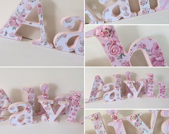 Baby girl,pink roses,shabby chic wooden letters,nursery decor,wall decor,free standing,hanging,personalised,custom made baby gift,baby showe