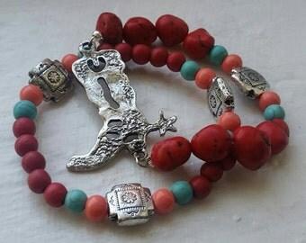 Western style bracelet/boots/boot bracelet/red bracelet/turquoise/coral/jewelry/beaded bracelet