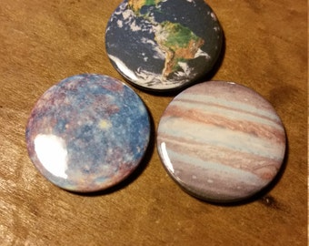 2.5cm/1 inch planet/solar system pin buttons