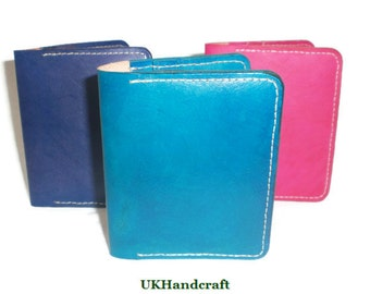 Colourful Leather BiFold Card Wallet, Blue Leather Card Wallet, Leather Card Holder, Leather Card Wallet, Slim Card Wallet, Slim Card Holder