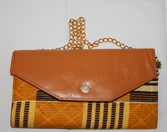 Large Ankara with Leather Clutch