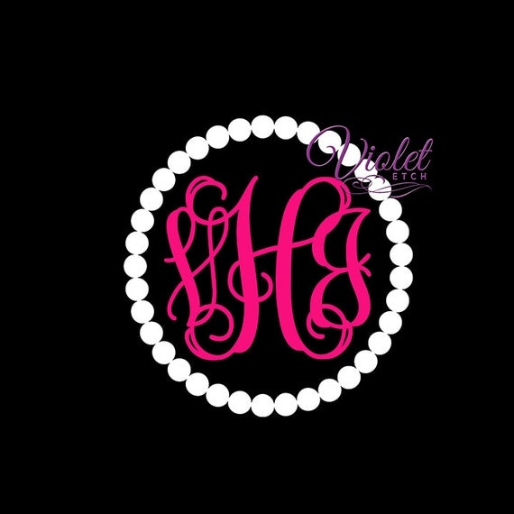 Pearls and Vine Monogram Decal-Dot Decal-Vine Monogram Decal-Yeti Cup Decal-Laptop Decal-Car Window Decal