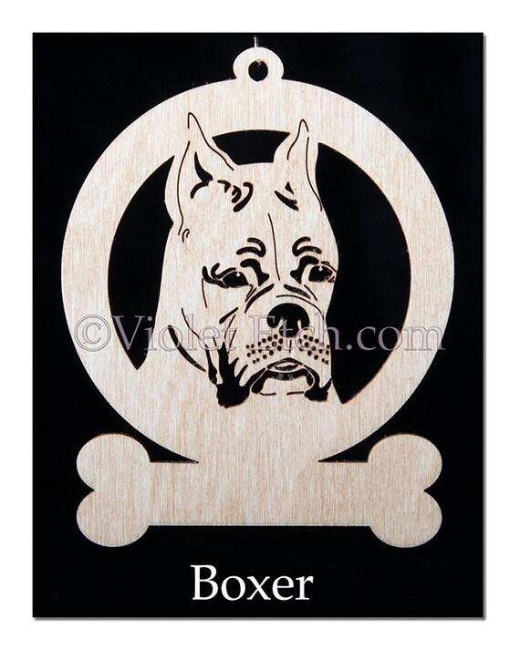 Boxer Ornament-Boxer Gift-Free Personalization-Laser Cut Boxer-Wood Boxer Ornament