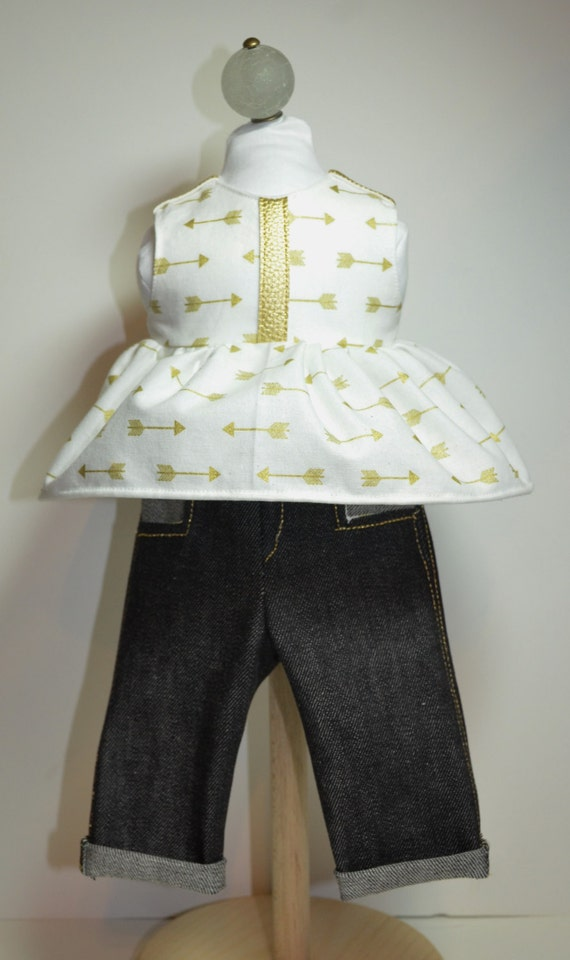 "Golden Arrow Capri Outfit 18"" Doll Clothe Denim Cotton Faux Leather Trim"
