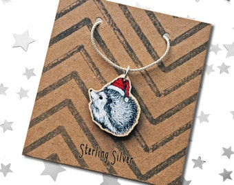 Christmas Hedgehog charm necklace, wooden hedgehog with Santa hat pendant with Sterling silver chain & loop, stocking stuffer, advent gift