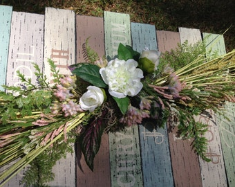 """27"""" Swag with White, Cream, & Dusty Pink Silk Floral - Summer Floral Door Decor - Door Decor - Summer Swag - Grass Decor - Dried Grass Swag"""