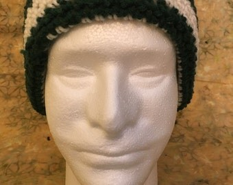 Mens green and white hat