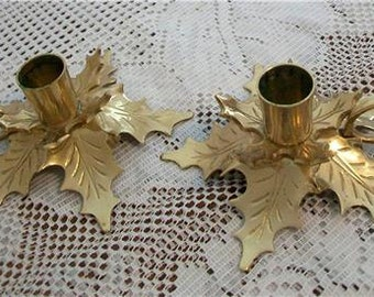 Pretty Brass Leaf Pattern Candle Holders - Perfect for Fall or Holiday Decor