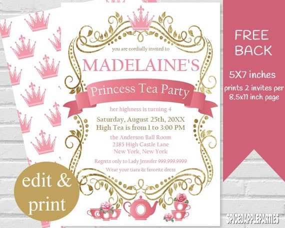 princess tea party invitation tea party princess tea, Party invitations