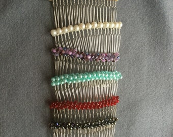 Beaded hair combs