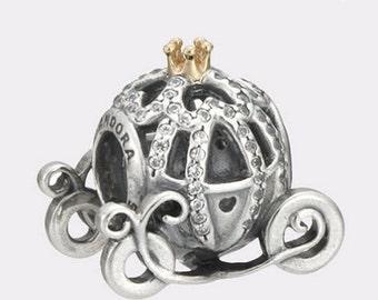Pandora  Disney Cinderella's Pumpkin Coach Sterling Silver Charm #791573CZ