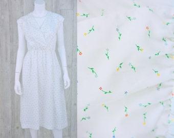 1970's Vintage Women's S Sheer White Floral Print Shirt Dress Day Dress Sun Dress