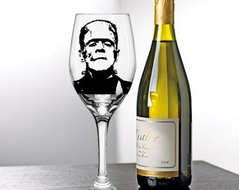 Herman Munster, Fred Gwyne, Frankenstein, The Munsters, Painted Wine Glasses, Painted Wine Glass, Hand Painted Wine Glasses, Painted Glasses